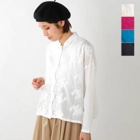 【☆】mizuiro-ind ミズイロインド コットンレーススタンドカラーワイドシャツ 1-238189