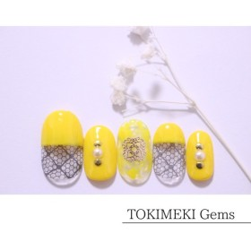 【春ネイル】レトロな黄色×黒レースnail ネイルチップ