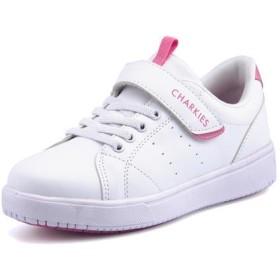 CHARKIES(チャーキーズ) キッズ スニーカー【超軽量】 CH190 ホワイト/ピンク ガールズ