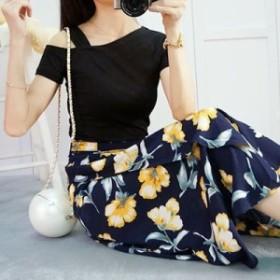 肩出し半袖Tシャツ+大花柄ロングスカートセット(ブラック&ネイビー) 新作 大人 かわいい カジュアル OL