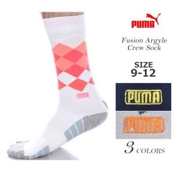 プーマ Puma ソックス 靴下 ゴルフウェア メンズ おしゃれ ゴルフメンズウェア フュージョン アーガイル クルー ソックス USA直輸入