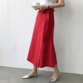 スカート    ロング丈 カジュアル ラップスカート(レッド)春夏 無地 シンプル 普段使い お出かけ