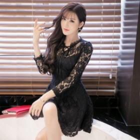 花柄 刺繍 レース シースルー 透け感 リボン フレア ドレス ワンピース 長袖 ミニ丈 きれいめ フェミニン 上品 エレガント お呼ばれ