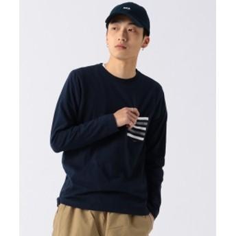 BEAMS / リブポケット クルーネック メンズ Tシャツ NAVY S