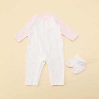 コムサイズム COMME CA ISM 【ギフトセット】新生児用 カバーオール&ソックスセット (ピンク)