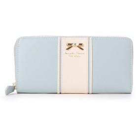 サマンサタバサプチチョイス リボンプレート バイカラーバージョン ラウンドジップ長財布(ブルーグレー)