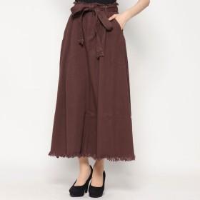 スタイルブロック STYLEBLOCK 刺繍ベルト付きタックロングスカート (ブラウン)