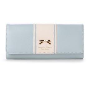 サマンサタバサプチチョイス リボンプレート バイカラーバージョン 長財布(ブルーグレー)