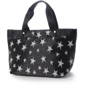 クーコ COOCO 星柄 織 テープハンドル トート バッグ 【 A4サイズ 対応 】 (ブラック)