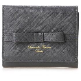 サマンサタバサデラックス シンプルリボン小物 三つ折り財布(グレー)