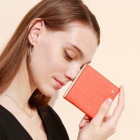 トプカピ TOPKAPI RITMO[リトモ]メッシュ柄型押し・二つ折りミニ財布 (コーラルオレンジ)
