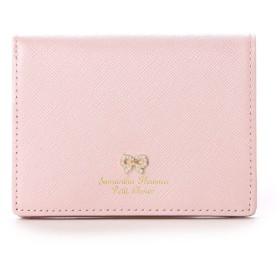 サマンサタバサプチチョイス リボンストーン モチーフシリーズ ミニ折財布(ピンクベージュ)