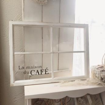 フレームアレンジ窓枠風 ステンシル ホワイト×ブラック La maison du CAFE