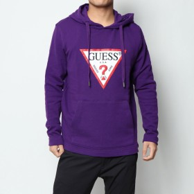 ゲス GUESS TRIANGLE LOGO HOODIED PARKA (PURPLE)