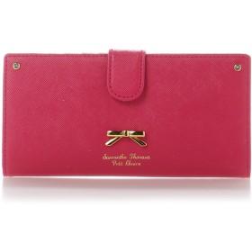 サマンサタバサプチチョイス シンプルリボンプレート薄型長財布 マゼンタ