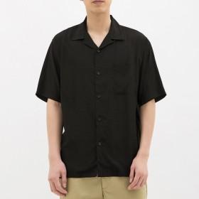 (GU)オープンカラーシャツ(半袖) BLACK XL