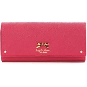 サマンサタバサプチチョイス シンプルリボンプレート かぶせ長財布(マゼンダ)