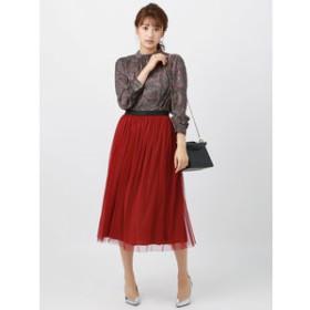 【THE SUIT COMPANY:スカート】チュール×サテン リバーシブルギャザーフレアスカート