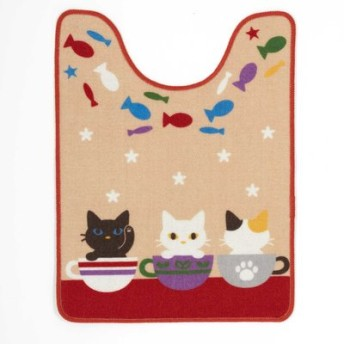 かわいい子猫フレンズ ロングサイズトイレマット フェリシモ FELISSIMO【送料:450円+税】