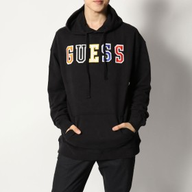 ゲス GUESS Originals AUTHENTIC LOGO HOODY (JET BLACK MULTI)
