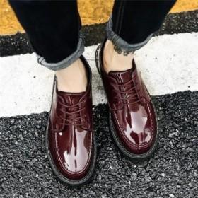 c1be9f53420d オックスフォードシューズ メンズ カジュアルシューズ エナメル ラウンドトゥ レースアップ 紳士靴 メンズ おしゃれ 2019 春