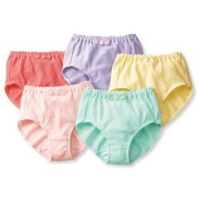 ガーゼ風綿混ストレッチゴムくるみ仕様深ばきショーツ5枚組 スタンダードショーツ,Panties