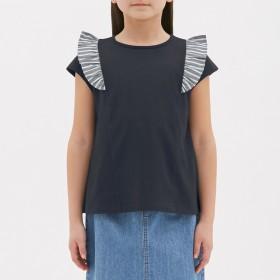 (GU)GIRLSストライプフリルT(半袖) NAVY 150