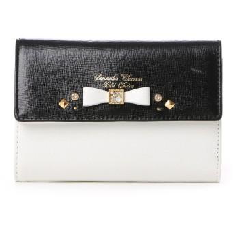 サマンサタバサプチチョイス ビジューリボンモチーフ バイカラーシリーズ 折財布(ブラック)
