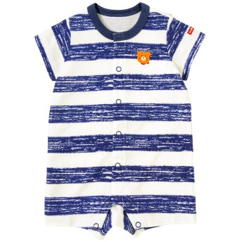 ミキハウス タック天竺 手描き風ボーダー&水玉ショートオール 紺×白