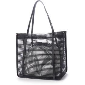 クーコ COOCO フェイクレザー巾着付ボーダー柄メッシュトートバッグ【A4サイズ対応】 (ブラック)