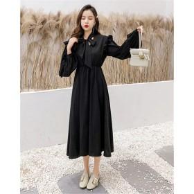 限定SALE価格!見逃し禁止! 韓国ファッション CHIC気質 大きいサイズ 蝶結び フリル ハイウエスト スリム ドレス