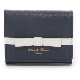 サマンサタバサデラックス ライン入りシンプルリボン小物(三つ折り財布) ネイビー