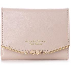 サマンサタバサプチチョイス リボンバー金具シリーズ折財布 ピンクベージュ