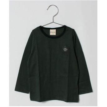 PICNIC MARKET シンプル長袖Tシャツ(ワンポイント/ボーダー) produced by ミキハウストレード(カーキ)【返品不可商品】