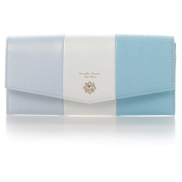 サマンサタバサプチチョイス フラワーモチーフシリーズマルチカラーバージョン長財布 ライトブルー