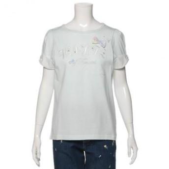 メゾ ピアノ ジュニア/水彩花柄リボン刺しゅうTシャツ