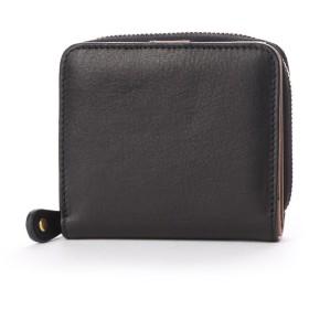 ナナノエル Nananoel sauvage スムースレザー配色ラウンド二つ折り財布 (ブラック)