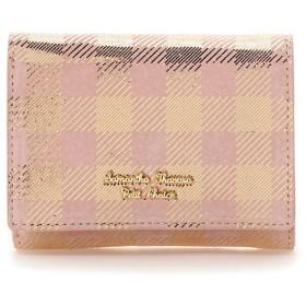 サマンサタバサプチチョイス ピッグレザーチェックシリーズ ファスナー折財布 ピンク