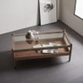 ウォルナット材のガラス天板リビングテーブル(BAKKEN)