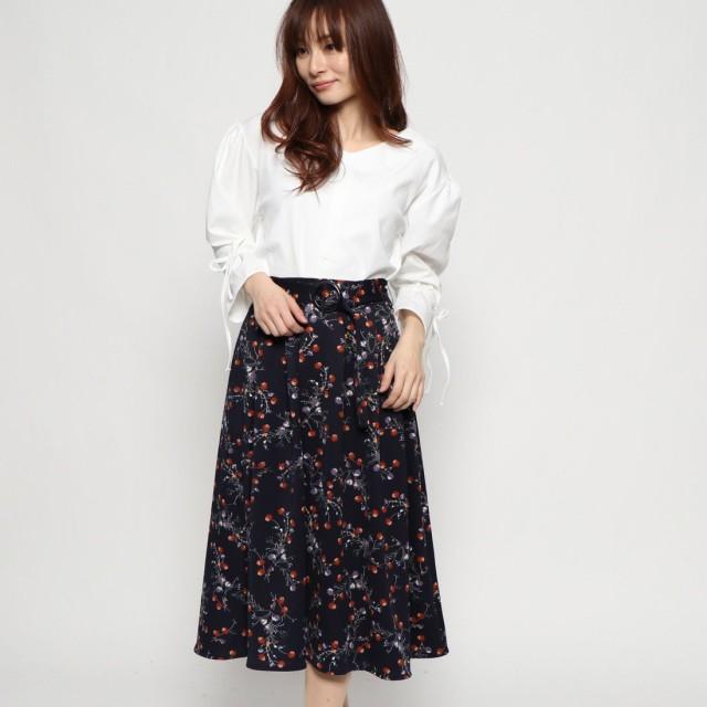 ジーラ GeeRA ブラウス×ベルト付スカートセット (オフホワイト×花柄)
