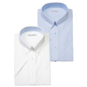 首まわり接触冷感生地使用形態安定半袖ワイシャツ2枚組(ボタンダウン) (ワイシャツ)