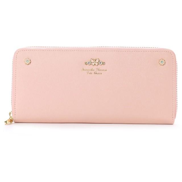 サマンサタバサプチチョイス フラワーシリーズ ラウンドジップ長財布(ピンク)