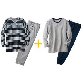 【レディース】 綿100%お得な4点セットパジャマ(男女兼用)(長袖&長パンツ2セット) ■カラー:B ■サイズ:LL,S,L,M,3L