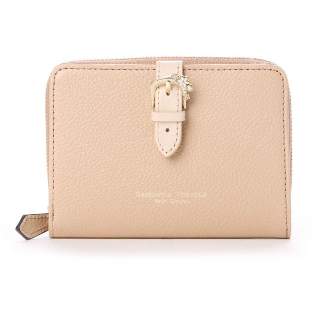 サマンサタバサプチチョイス ベルトモチーフシリーズ ラウンドジップ折財布(ブラウン)