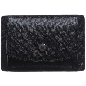 アッド Add+ 本革サフィアーノレザーコインパスカードケース コンパクトミニウォレット 財布 (ブラック)