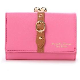 サマンサタバサプチチョイス ベルトモチーフ がま口折財布(ピンク)