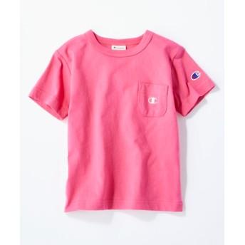 Champion ワンポイントポケット付きクルーネックTシャツ(ジュニアサイズ150cm) キッズ ショッキングピンク