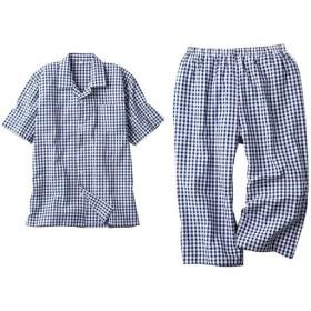 【レディース】 綿100%半袖サッカーシャツパジャマ(男女兼用) - セシール ■カラー:B ■サイズ:LL,L,M