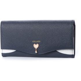 ミッシュマッシュ MISCH MASCH シェル シルバー箔合皮使用ハートブローチ付長財布 (ネイビー)