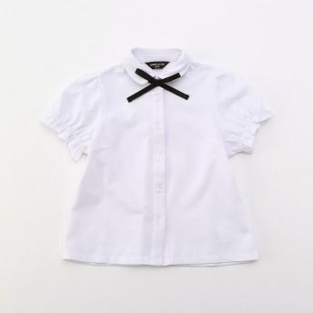 コムサイズム COMME CA ISM リボンタイ付き 半袖ブラウス (100cm〜130cm) (ホワイト)